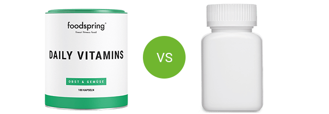 foodspring Daily Vitamins vs. competitor product